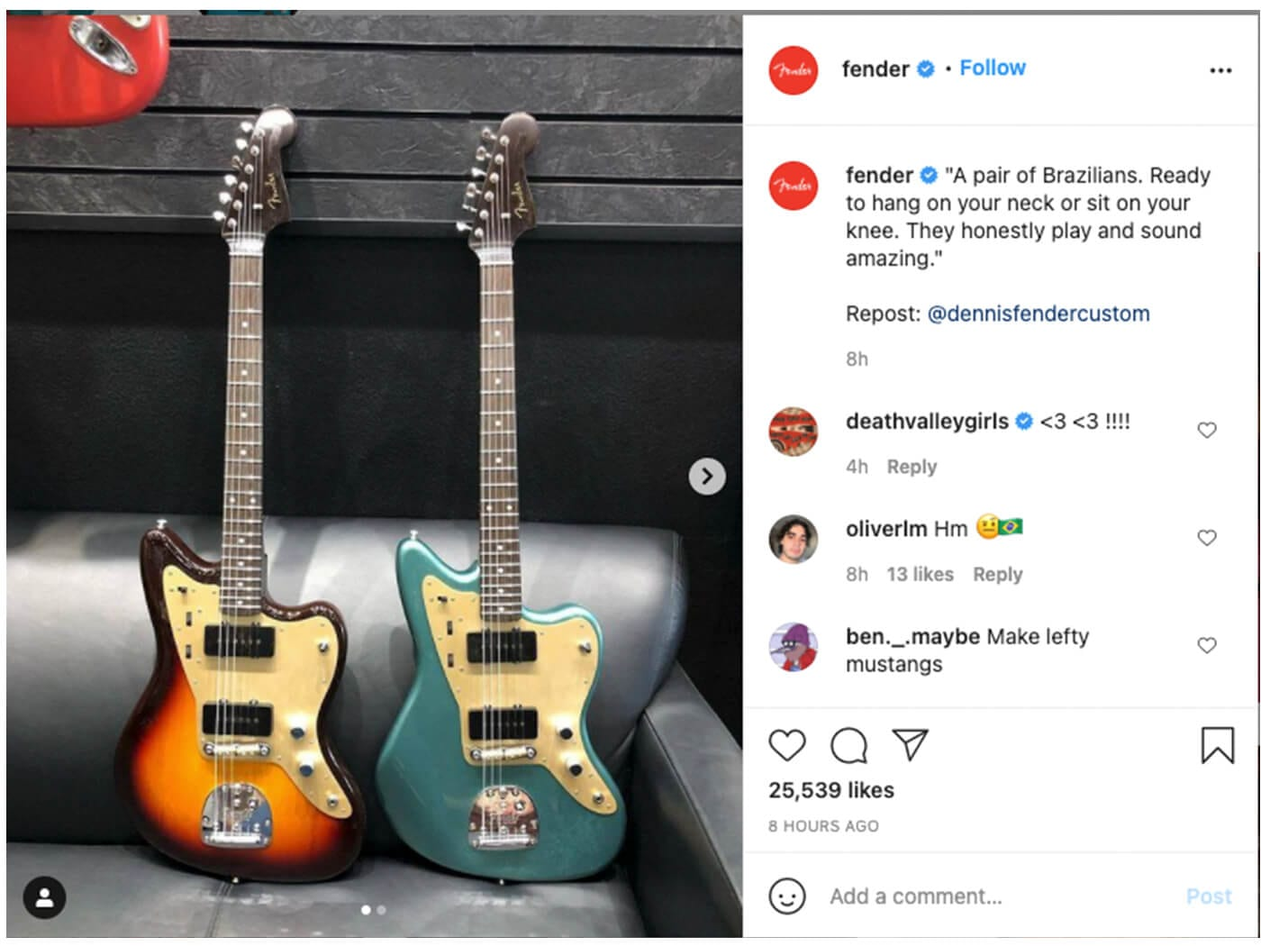 The now-removed FenderInstagram post