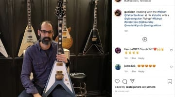Gibson's Cesar Gueikian shows off Richie Faulkner Flying V prototype