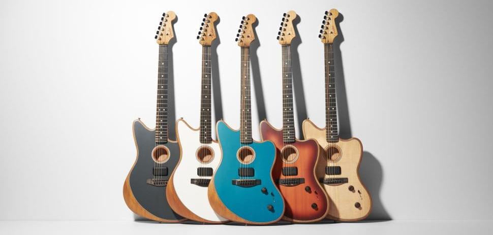 Fender American Acoustasonic Jazzmaster Ocean Turquoise, Natural, Tobacco Sunburst, Tungsten and Arctic White.