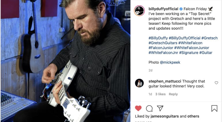 Billy Duffy teases new prototype Gretsch signature White Falcon main