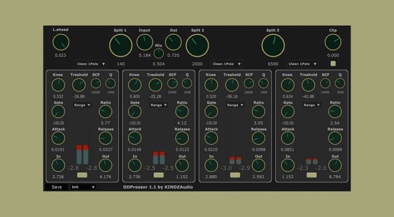 KINDZAudio DDpressor: multiband dynamics plug-in with selectable crossover filters