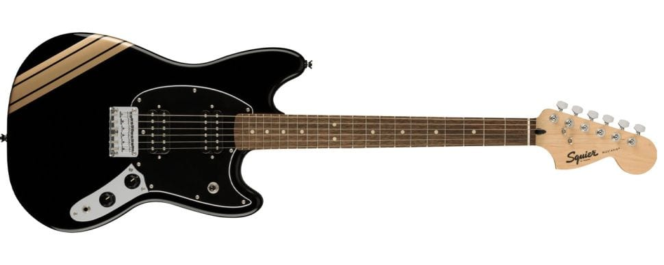 Squier Bullet Competition Mustang Black and Shorelin Gold Stripes