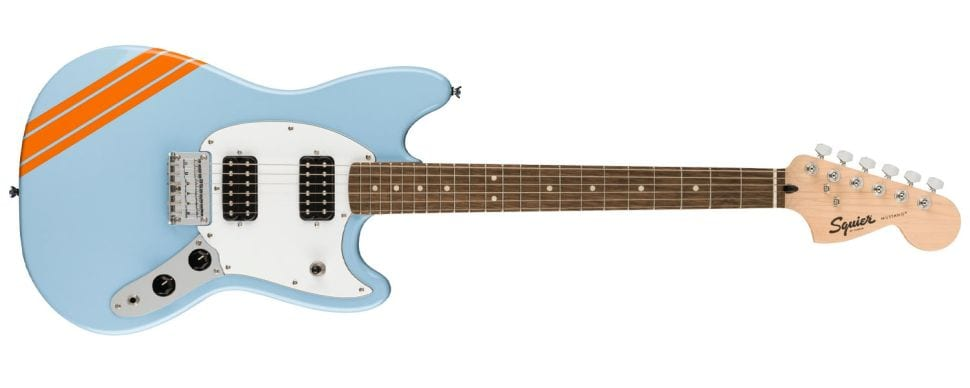 Squier Bullet Competition Mustang Daphne Blue with Orange stripes