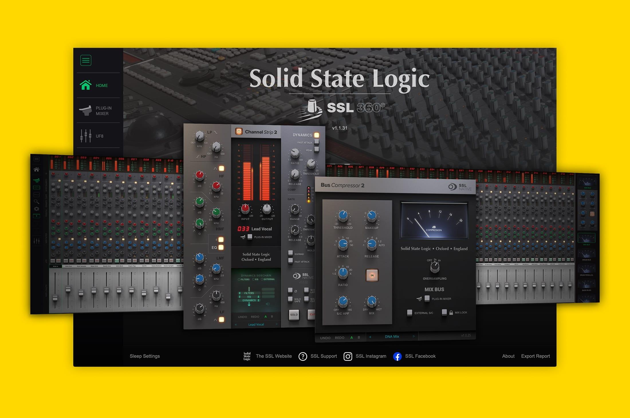 SSL UC1 software - SSL 360, SSL Plug-in Mixer, SSL Native Plug-ins