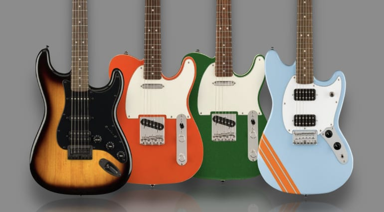 Squier FSR Bullet Competition Mustang, HSS Stratocaster and Classic Vibe 60s Custom Tele