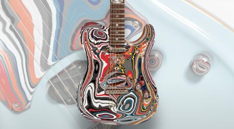 Songbirds Foundation and Warrior Guitars MotorCity Fordite Guitars