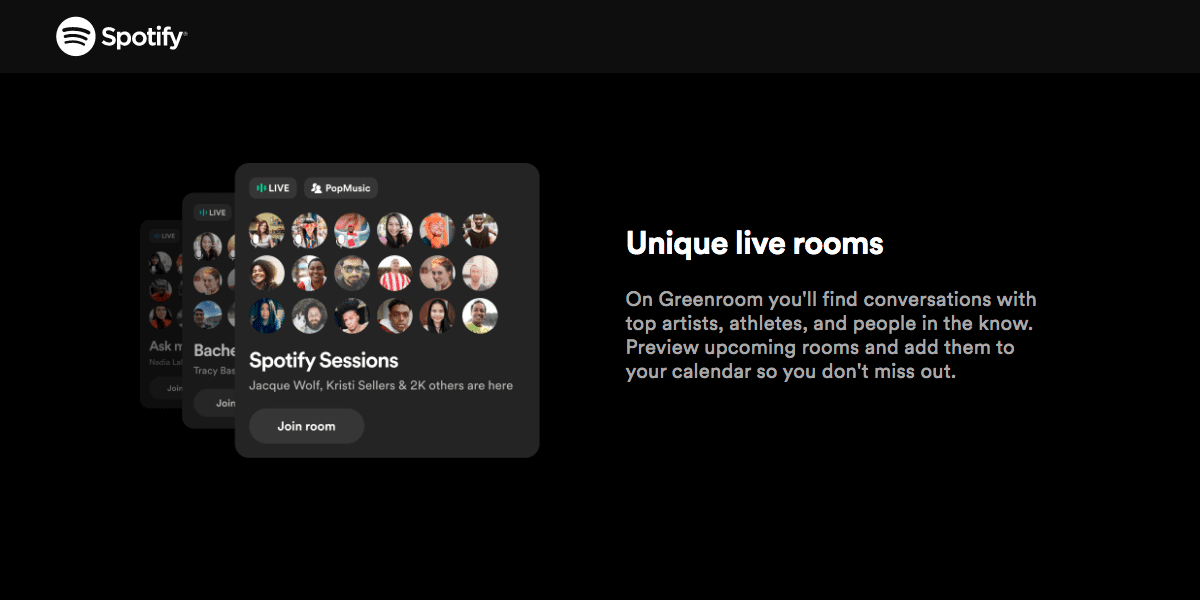 Spotify Greenrooms is their answer to the Clubhouse audio rooms app