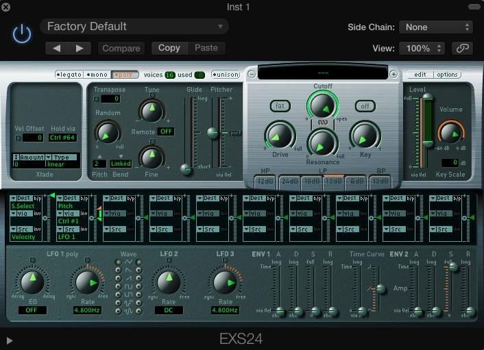 Apple Logic Pro's EXS24 MKII Sampler
