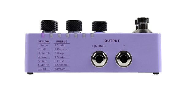 Mooer R7 X2 Reverb with list of effects