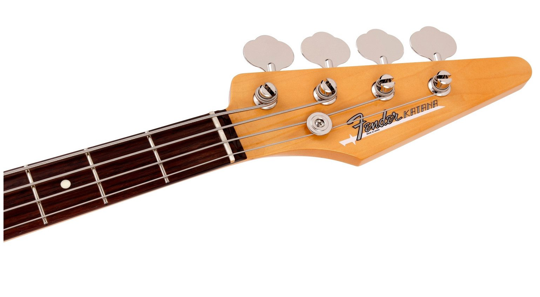 Fender Katana Bass headstock with Fender logo and Katana logo
