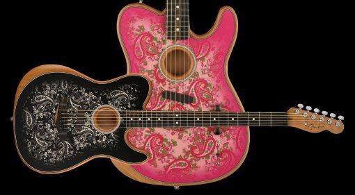 Fender Pink Paisley and Black Paisley Acoustasonic Telecaster