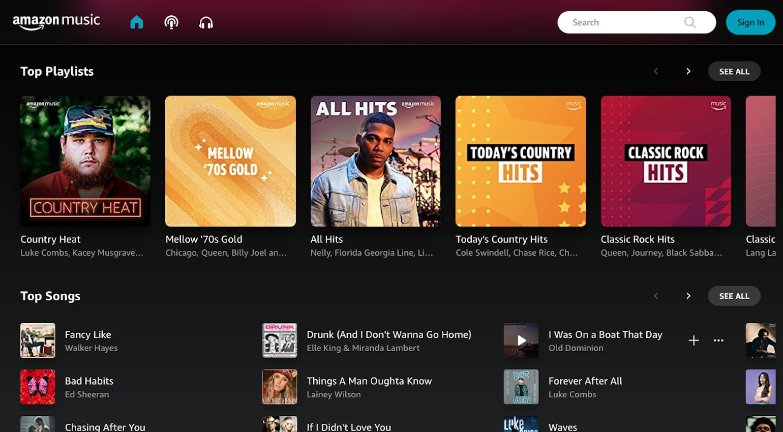 Amazon Music streaming platform.