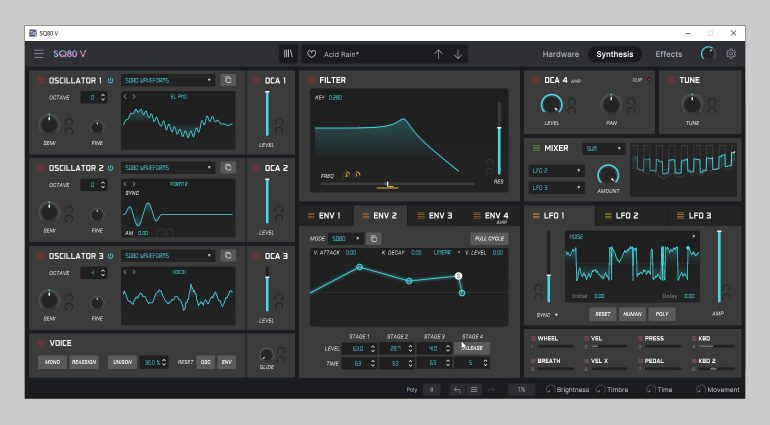 Arturia SQ80 V Synthesis page