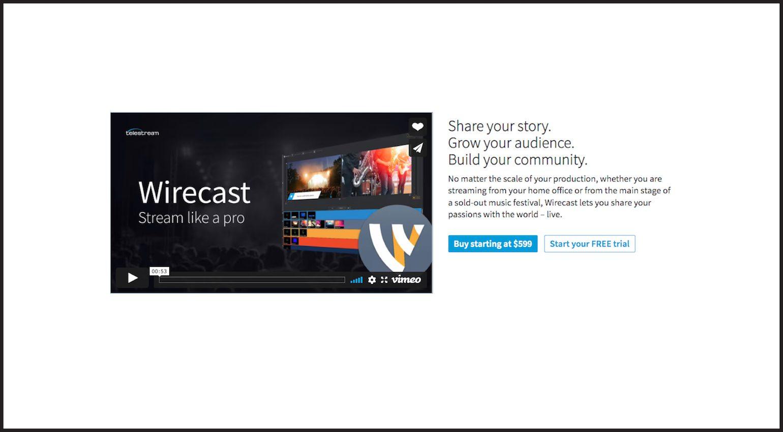 Wirecast Studio, streaming software pro-app.